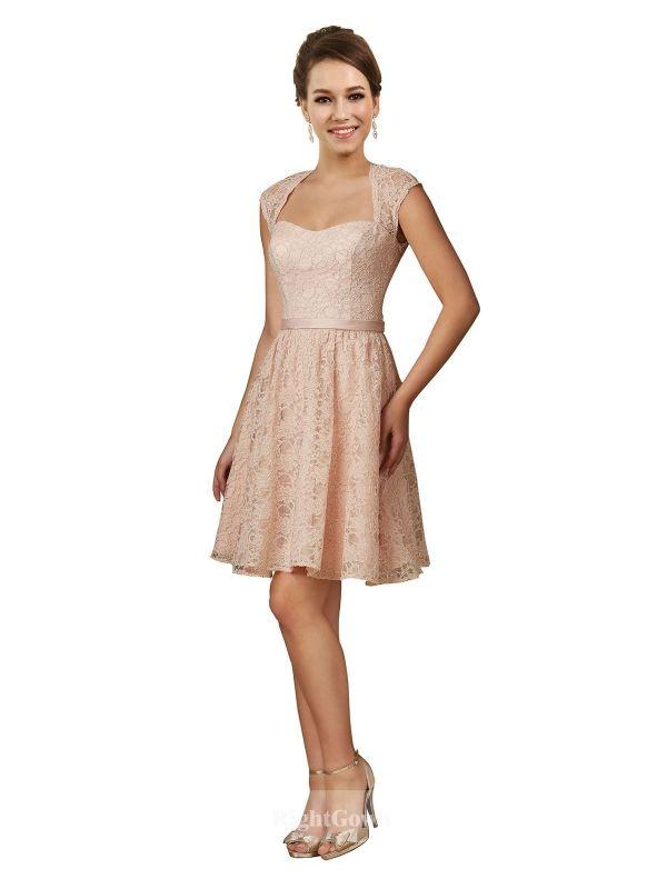 Wholesale Sweetheart Short Knee Length Lace Pink Cap Sleeves 2018 Bridesmaid Dre…