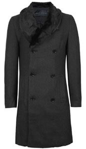 Topman Criminal Damage Herringbone Faux Fur Collar Coat