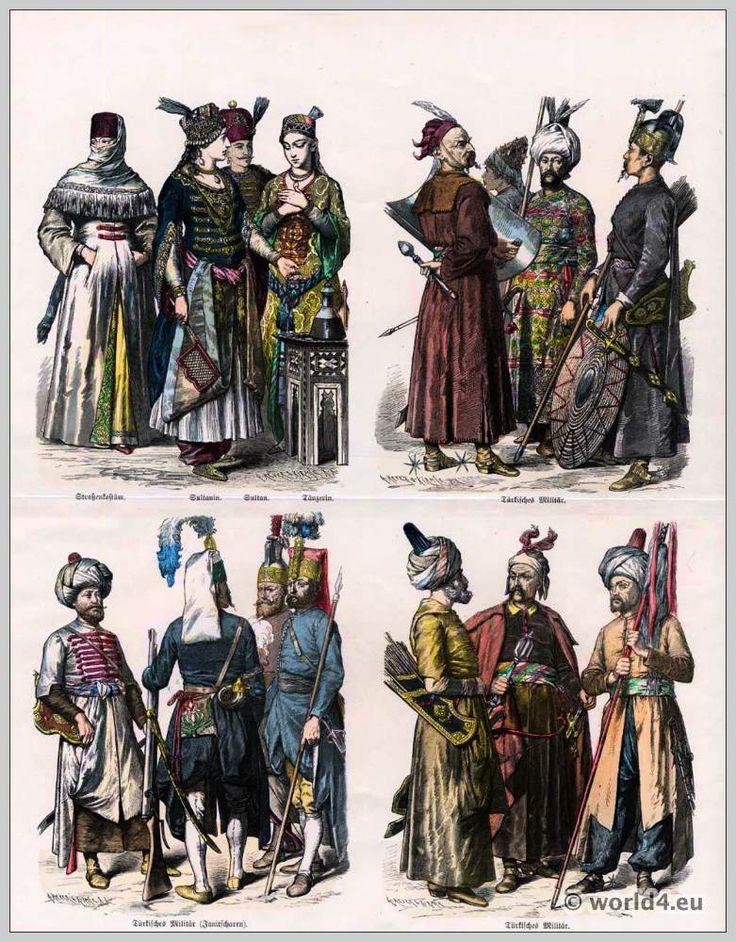 oben links: Edeldame im Straßengewand, Sultana, Sultan, Tänzerin. oben rechts: Türkisches Militär. unten links: Offizier, Janitscharen. unten rechts: Türkisches Militär