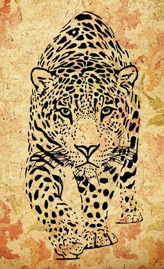 Leopard SVG, Dxf, Png, drucken und schneiden Dateien, Cricut, Silhouette, tattoo Design, Leopard Shirt, wilde Tiere, Leopard Vinyl, Leoparden-print