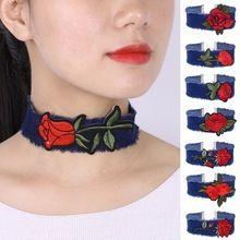 New Denim Jeans náhrdelník náhrdelník pre ženy Tassel kvetinové Chokers výšivka Rose Chocker Collier ras de cou colar bijoux femme (Čína)