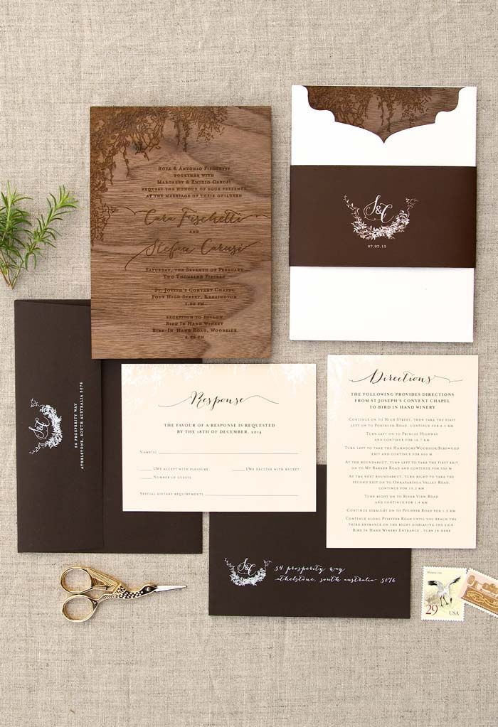 how to address wedding invitations inside envelope%0A Paper diecut pocket with monogrammed band and envelopes with white ink  addressing