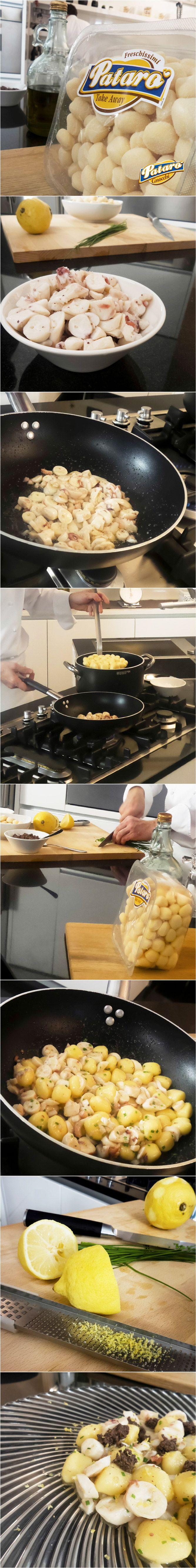 Lo chef Stefano Cerveni ha reinterpretato un classico per presentarci un primo piatto tanto semplice da preparare, quanto gustoso: Gnocchi di Patate con Polpo e pesto di Olive Taggiasche. Scopri la ricetta! #gnocchi #ricetta #patarognocchi