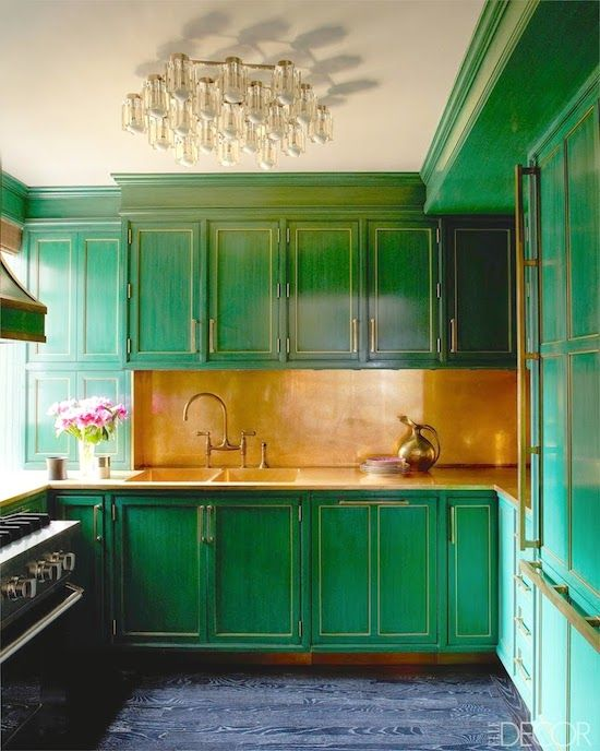 Classy color to re-purpose cabinets. Gorgeous. Kelly Wearstler | Cameron Diaz | Emerald Green | Paint Colors | Kitchen Cabinets | Home Improvement | Interior Design