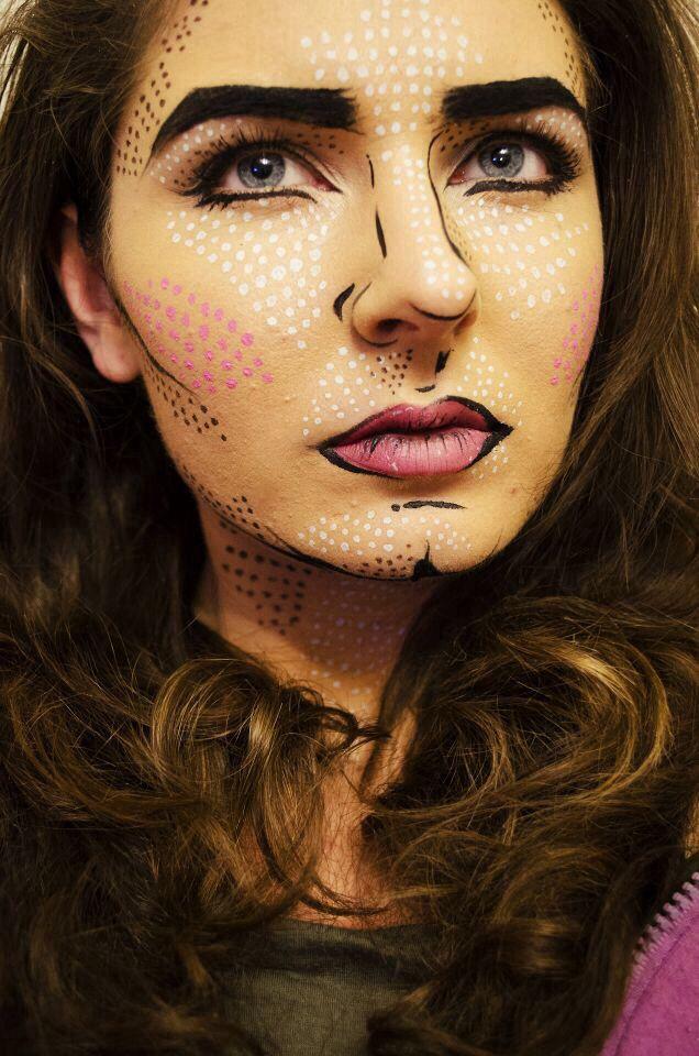 Pop art inspired makeup sfx facepaint Roy Lichtenstein