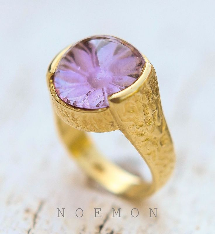 intaglio flower amethyst sterling silver gold plated ring, Greek jewelry #Solitaire #Engagement
