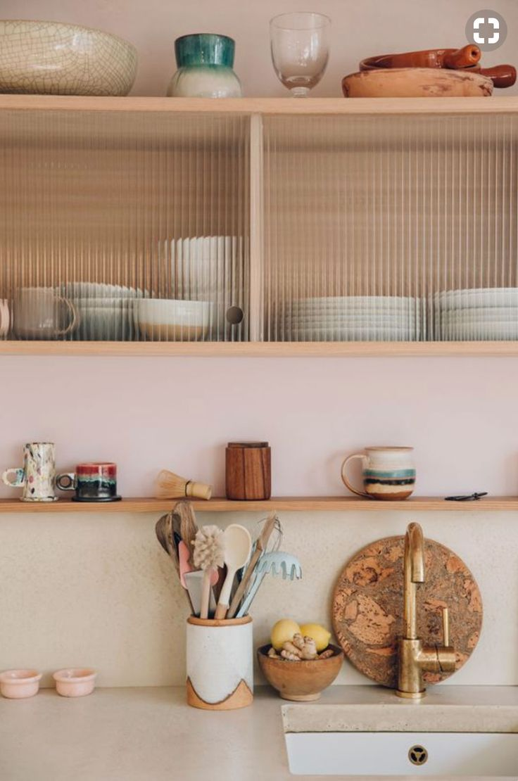 neutral kitchen decor with pale pink and green details. / sfgirlbybay