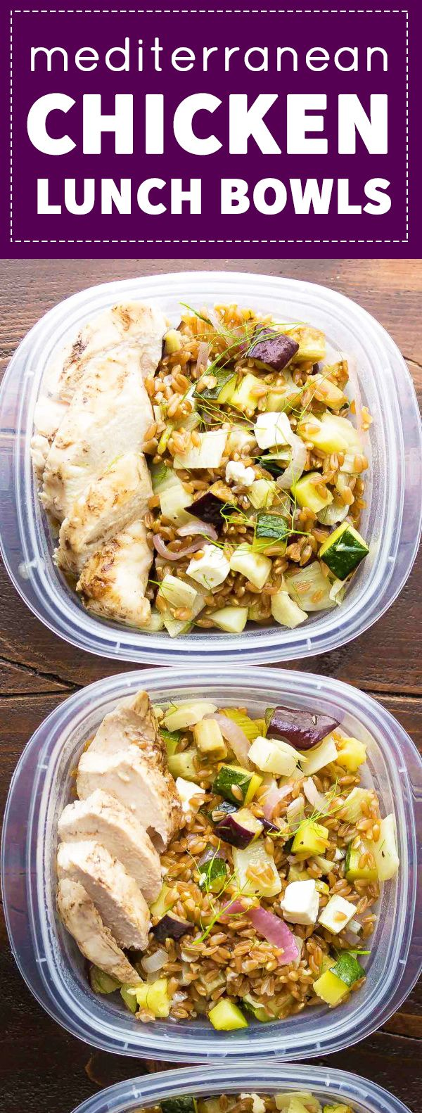 Make these Mediterranean Chicken & Farro Lunch Bowls and you'll have four healthy work lunches ready for the week.