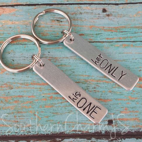 Couples Key Chain Set  his one / her only by SouthernCharmJS  Valentine's Day gift idea