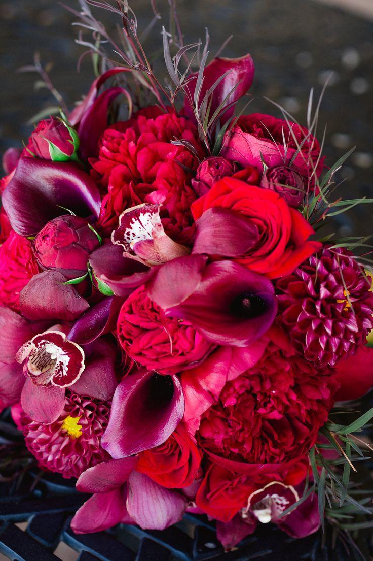 Bridal Bouquet I Color Palette  #Bouquet #Red #Roses #CallaLilies #Orchids #Dahlias #CLUXFlorals