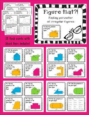 using irregular figure task cards to find area and perimeter area and perimeter pinterest. Black Bedroom Furniture Sets. Home Design Ideas