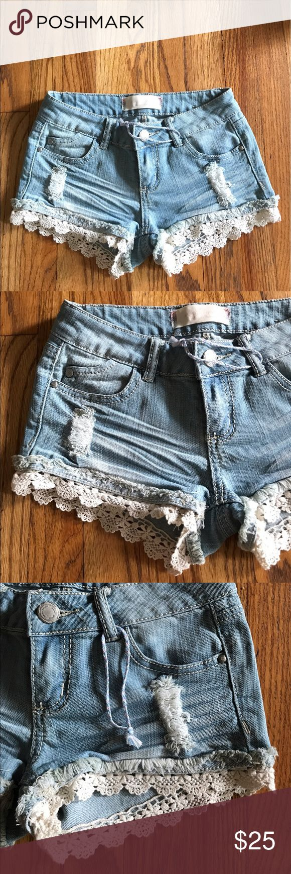 Almost Famous Light Wash Lace Hem Shorts Size 0 💕 Super cute Light Wash Slightly Distressed Soft Jean Shorts with Lace Hem. Barely worn! Great condition! Stretchy Size 1 (fit like a 0). So cute for Summer! 💕 Almost Famous Shorts Jean Shorts