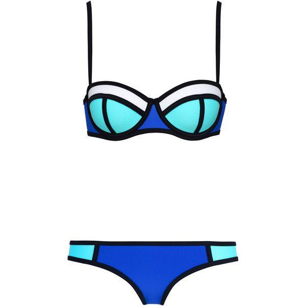 POPPY SEA SPRITZ ($89) ❤ liked on Polyvore featuring swimwear, bikinis, bikini, swimsuits, swim, bathing suit, blue bikini bottoms, triangle swimsuit, underwire bras and neoprene bikini