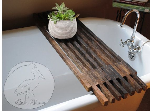 This Reclaimed Wood Tub Caddy has me convinced that I need a tub.