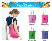 Monogram Tote Bag Ragged Edge Personalized Custom Embroidery by Beach Bum USA