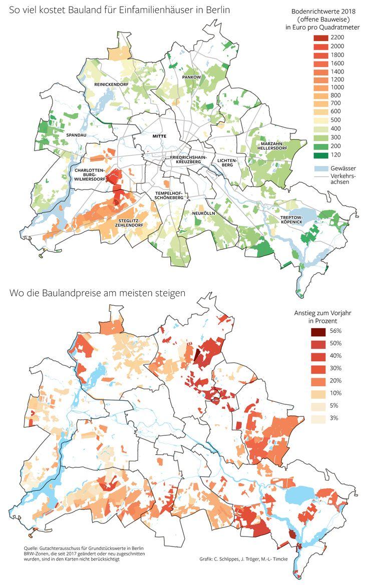 Immobilien Berlin Karte Grundstückspreise Infografik C Schlippes J Tröger M L Timcke Erschienen in der Berliner Morgenpost