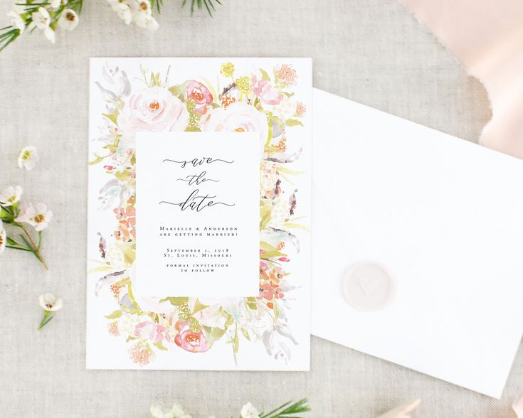Digital Floral Save the Date Cards - Save the Date Printable - Modern Save the Dates - Floral Save Our Date - Pink Save the Date Digital by MargauxPaperie on Etsy