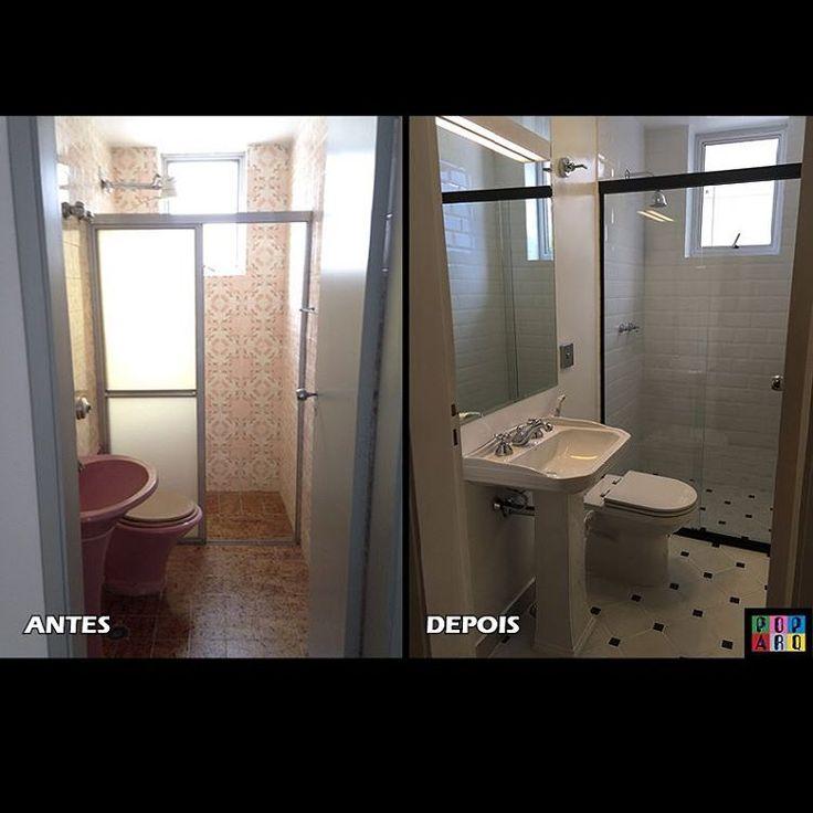 Antes & Depois de banheiro social!  O cliente pediu um visual clean com estilo retrô! Mantivemos os pontos hidráulicos e elétricos, mas trocamos todos os revestimentos, vidros, espelhos, luminárias, louças e metais! 😉  #banheiro #banho #bathroom #reforma #antesedepois #lavabo #estiloretro #retro #porcelanato #pretoebranco #arquitetura #arquiteturadeinteriores