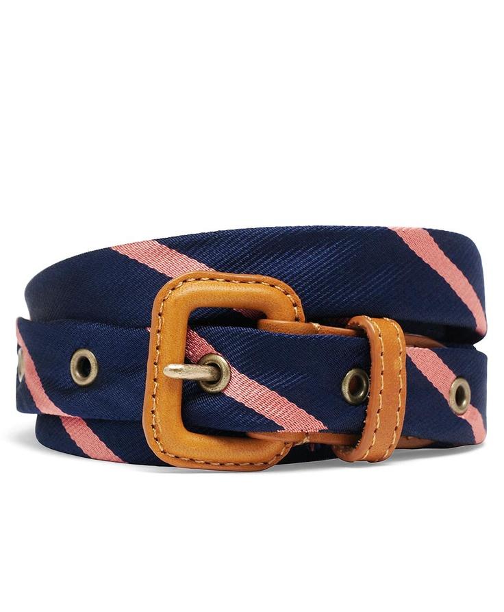 Silk Tie Buckle Belt | Brooks BrothersBrooks Brothers, Ties Belts, Pink Belts, Fashion, Pink Ties, Silk Ties, Buckles Belts, Repp Ties, Brother Ties