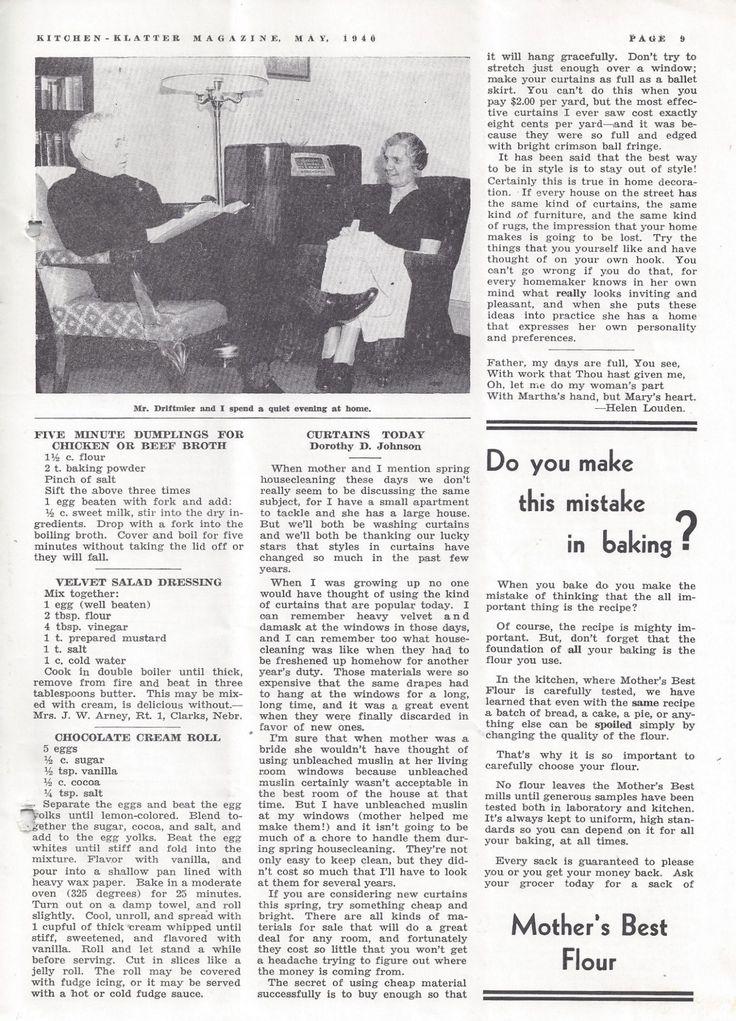 Kitchen Klatter Magazine, May 1940 - Five Minute Dumplings, Velvet Salad Dressing, Chocolate Cream Roll, Curtains Today