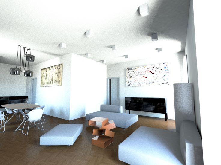 Interior design è la progettazione degli spazi d'interni, qui un progetto minimal, bianco, dalle linee esseziali per design addicted.
