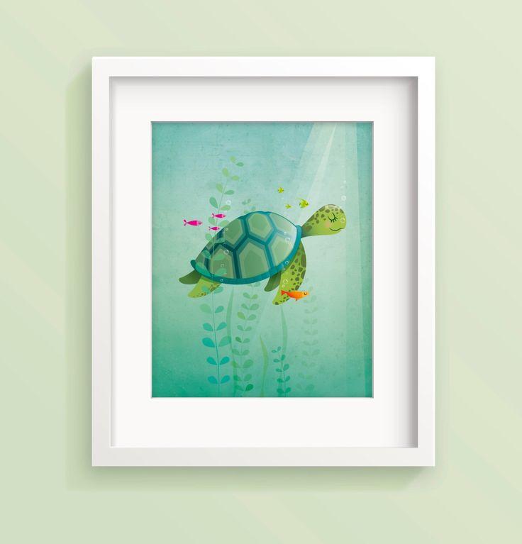 Nursery art print Sea turtle nursery print Kids illustration Kid's room decor Children's art Baby boy New baby gift Baby girl nursery by IreneGoughPrints on Etsy https://www.etsy.com/listing/204556630/nursery-art-print-sea-turtle-nursery