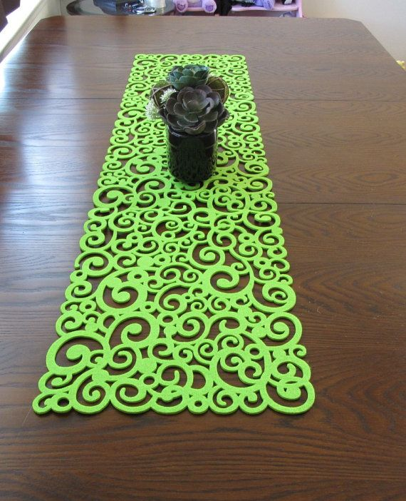 Green thick modern felt cut out table runner by AniasJewelry