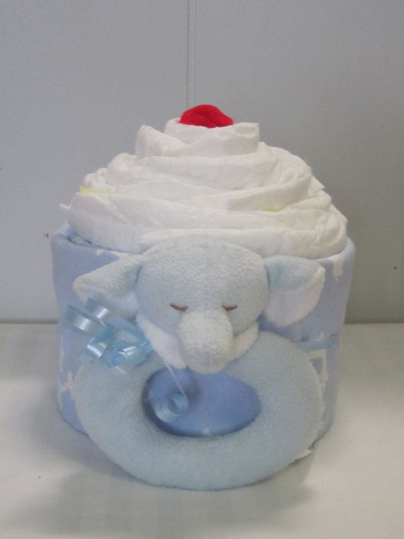 Oversized Jumbo Diaper Cupcake-Boy Elephant Diaper by LaurasCraft