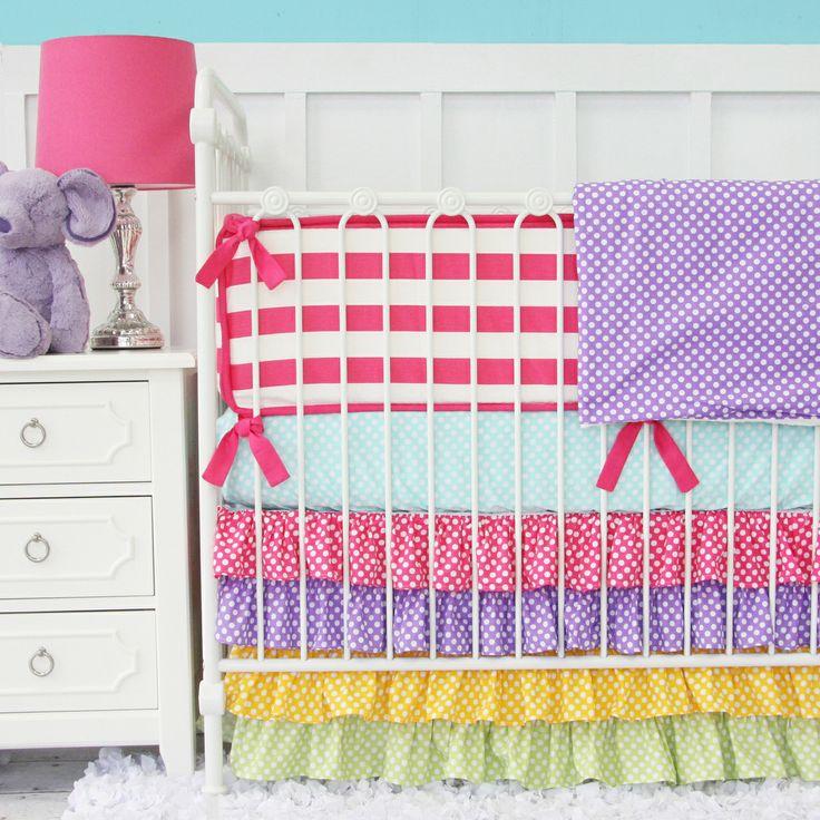 Caden Lane Baby Bedding LOVE the 4 color ruffle crib skirt in purple,  yellow,