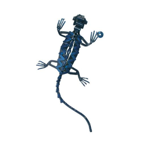 Wall mounted blue lizard