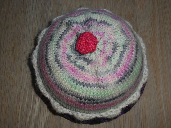 Warm, Cute and Soft Hand Knitted Baby Cup Cake Hat, Handmade in Hand Dyed SW Wool.