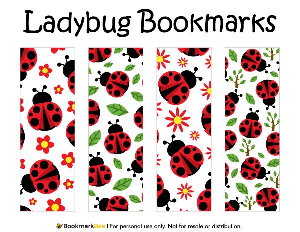 Free printable ladybug bookmarks. Download the PDF template at http://bookmarkbee.com/bookmark/ladybug/