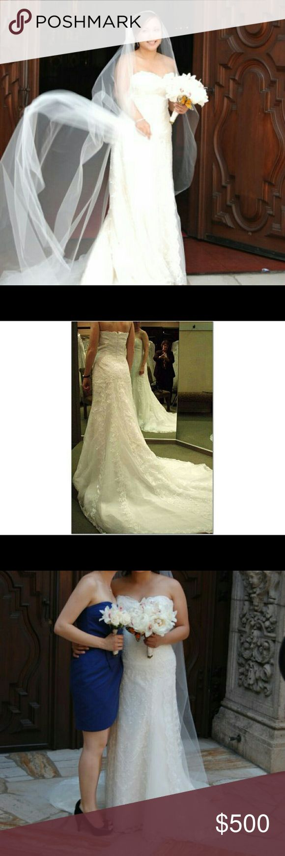 "Pronovias ideal wedding dress Sweet heart neck, floor length with cathedral train. Worn once.  Dry cleaned. Kept in original bag. Price negotiable.   Dress size 16 but I'm street size 10. I'm 5'3"" and wore 5"" heels. pronovias Dresses"