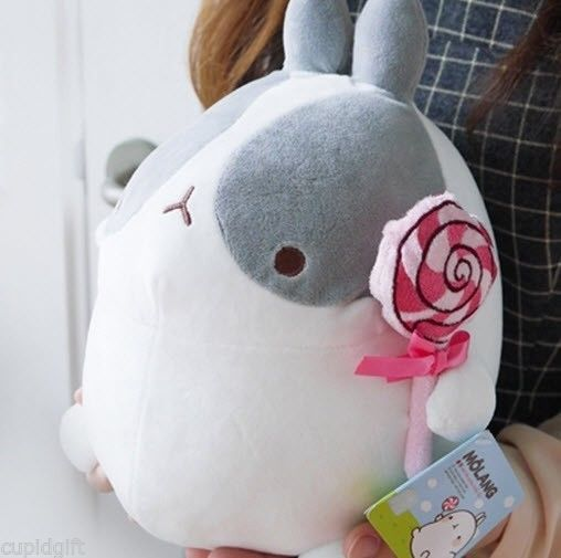"MOLANG Cute Rabbit Bunny GRAY w/Candy 10"" Plush Doll Toy Cushion Bedding Kawaii"