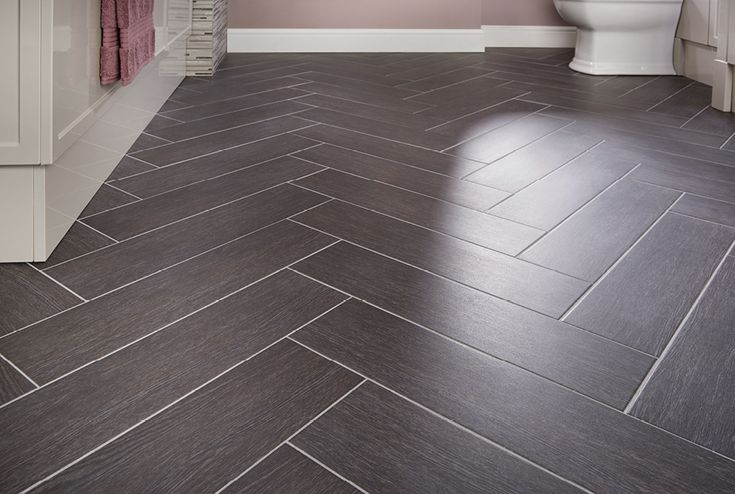 Ebony block bathroom floor #tiles