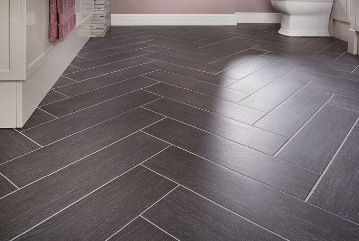 Ebony block bathroom floor #tiles