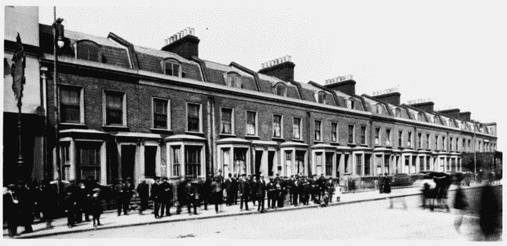 East India Dock Road  Nos. 449–479 (odd), left to right, in 1912, G.T. Tribe, architect, 1885