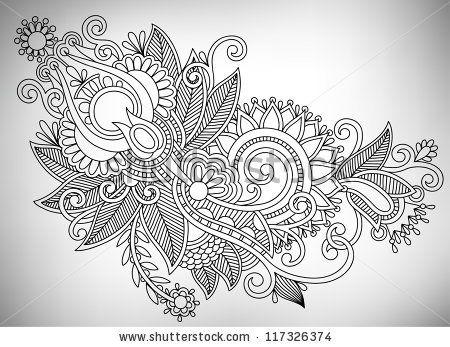 ukrainian designs | Hand draw line art ornate flower design. Ukrainian traditional style ...