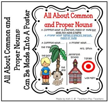 List of Common and Proper Nous Page for Writing BInder or Poster for Classroom~Item Description~List of Common and Proper Nouns  PosterItem Description~As I started to teach common and proper nouns in my classroom, I felt like my students needed a visual to remind them of what a common and proper noun was.