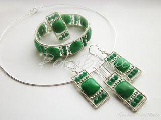 Petra Bijoux: Fresh Green - set bratara, colier, cercei si inel placate argint si mountain jade verde
