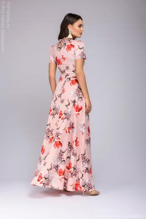 bd97aa0b93d фото Платье нежно-розовое длины макси с принтом и рукавом