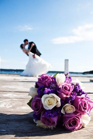 Pretty purple bouquet on dock | Matt Mason Photography | Lake Geneva, WI