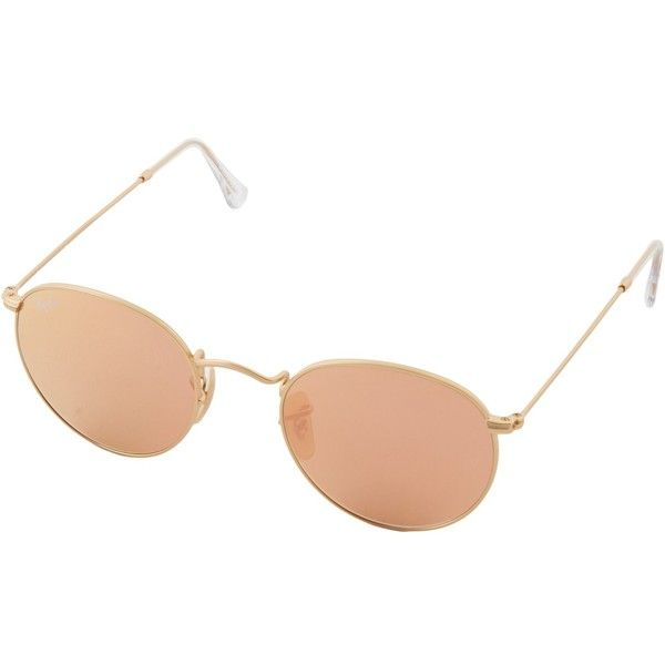 Ray-Ban RB3447 Round Metal 50mm (Brown Mirror Pink) Metal Frame... ($175) ❤ liked on Polyvore featuring accessories, eyewear, sunglasses, glasses, round metal sunglasses, ray ban sunglasses, pink round sunglasses, pink sunglasses and retro sunglasses