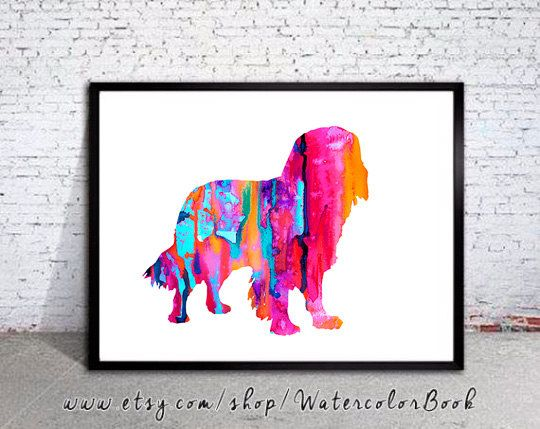 """Cavalier King Charles Spaniel 2 Watercolor Print,Cavalier King Spaniel art, Home Decor,dog watercolor,watercolor painting, animal watercolor  Buy two Get one FREE! Special offer! Buy two print and get one free(of the same size). Send me the links of the 3 posters that you have chosen in the """"notes to seller"""" section You will receive the three prints that you have selected for the price of 2.   Here you will find archival art prints of my original watercolor digital illustrations  Printed…"""