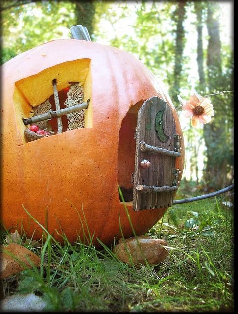 Pumpkin fairy house