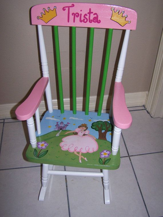 Hand Painted Childs Rocking Chair Princess theme by samthecrafter, $155.00