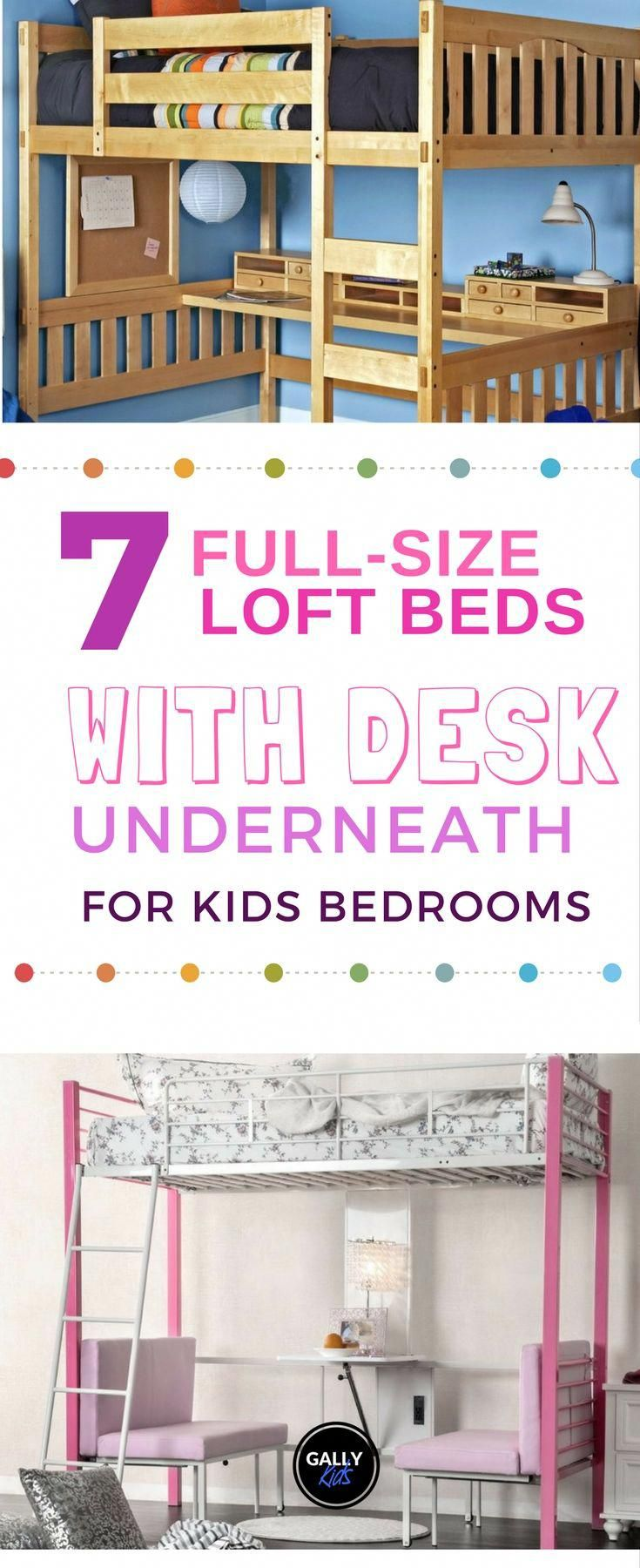 Loft bed with desk underneath  Fullsize loft beds with desk underneath Great for schoolaged kids