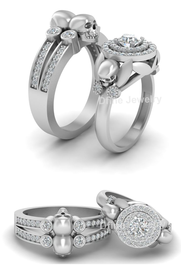 Diamond Skull Engagement Rings In 2018 Couple Rings And Bands