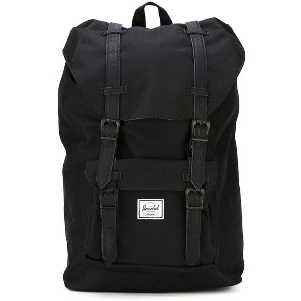 Herschel Supply Co. Monochromatic Buckle Detail Backpack (1.434.700 IDR) ❤ liked on Polyvore featuring bags, backpacks, black, buckle backpack, day pack backpack, rucksack bag, knapsack bags and herschel supply co bag