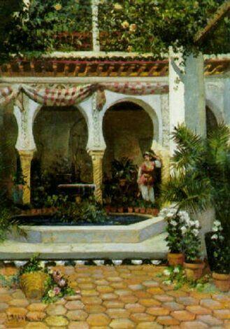 Algérie - Peintre Français Numa Marzocchi de Belluci (1846 - 1930),Huile sur toile 1878, Titre : Cour d'un Palais Algérois